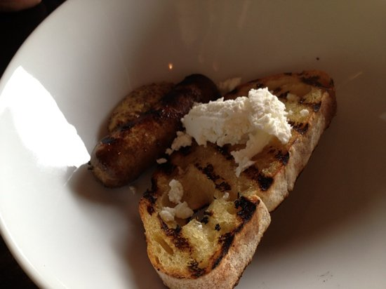 Nosh Restaurant & Bar: duck sausage bruschetta @Nosh