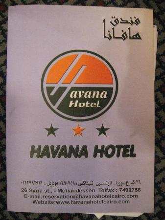 Havana hotel logo and contact details