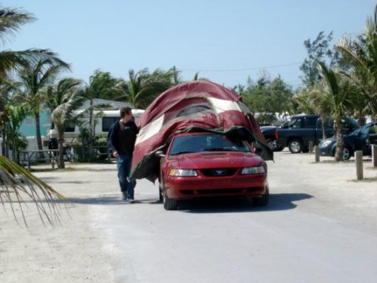 Boyd's Key West Campground: moving our tent