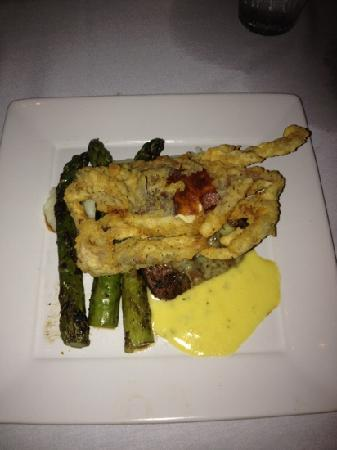 Mint Restaurant and Bar : filet of beef topped with softshell crab!