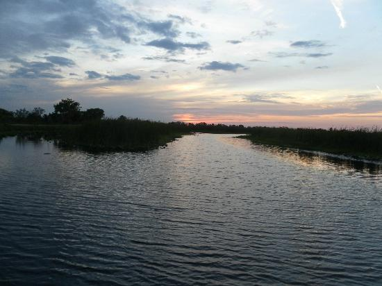 Old Florida Airboat Tours and Guide Service : sunset on the Indian river