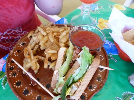 Vortex Cafe: Club sandwich and fries (there was another 1/2, we just ate it before we took the pic!