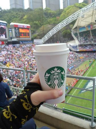 """Hong Kong Stadium: South stand, the score board and my """"coffee"""""""