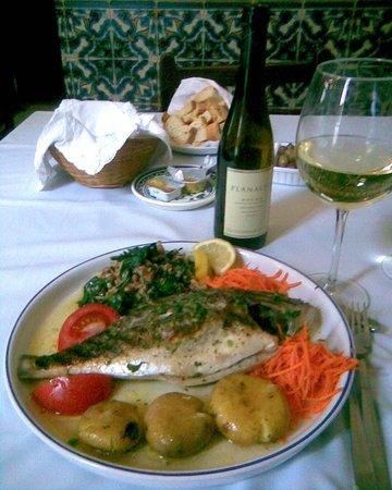 Restaurante O Trovador : Dorado and wine at the Trovador