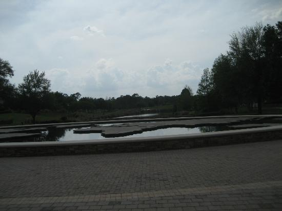 grande villas at world golf village pond with a world map