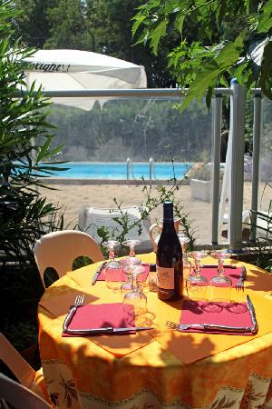 Hotel Le Clement V: Diner sous les muriers platane
