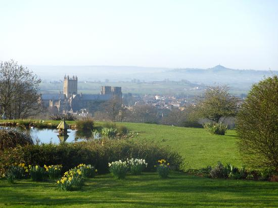 Stoberry House: The view from the side yard, with Wells Cathedral and Glastonbury Tor