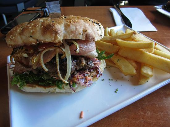 Hotel Bruny: Monster Burger - it was BIG!!!
