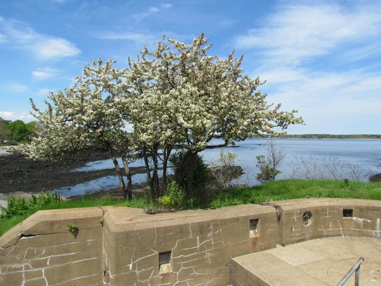 Fort Stark State Historic Site: on top of gun emplacements looking towards Piscataqua River