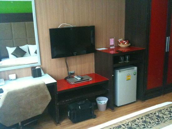 Darjelling Boutique: Room; TV, fridge etc