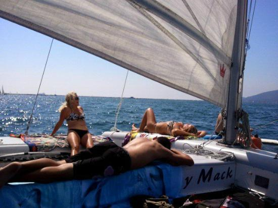 Molly Mack: relaxing under sail