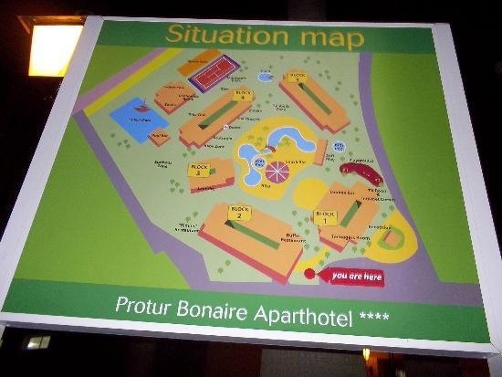 Protur Bonaire Aparthotel: Location map of hotel