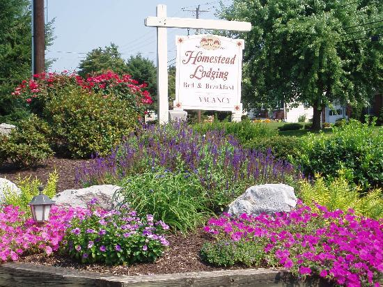 Homestead Lodging: gorgeous flowers and sign