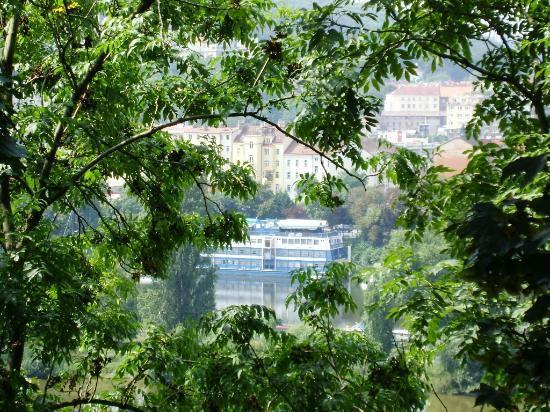 Prague River Hotel - Botel Vodnik: Looking at botel Vodnik from Vyšehrad