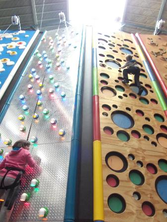 Clip 'n Climb Exeter: my son on his 7th bday being spiderman