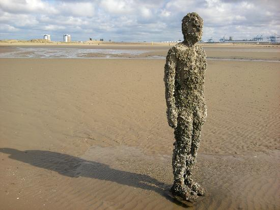 Antony Gormley's Another Place: Iron man closest to the sea when the tide was out... definitely undergoing a sea change!