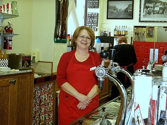 Owl Soda Fountain & Gifts: very nice woman who works there