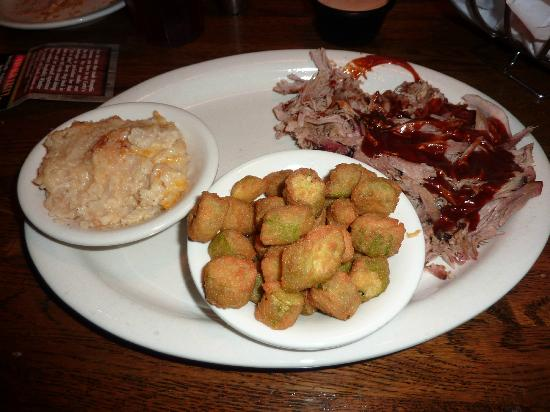 Corky's Bar-B-Q: Potatoes and Ocra were not bad at all.