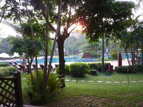Sofitel Angkor Phokeethra Golf and Spa Resort: The kids wouldn't wake up to see the sun rise at Angkor Wat, so I watched it rise over the pool.