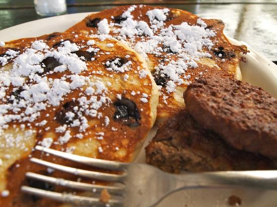 Donkey Diner: Blueberry Ricotta pancakes and veggie patties.