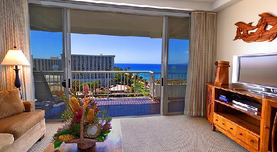 Aston at The Whaler on Kaanapali Beach: 1 Bedroom, 2 Bath Ocean View Living Room
