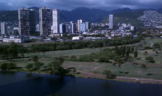 View from Blum's Waikiki Beach Condominiums, mauka (mountain) side with view of canal