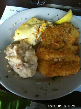 Farlow's On The Water : potato crusted Tripletail with corn pudding and mashed potatoes
