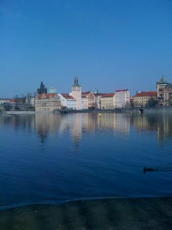 Hotel Cafe Dvorak: View from the river's edge