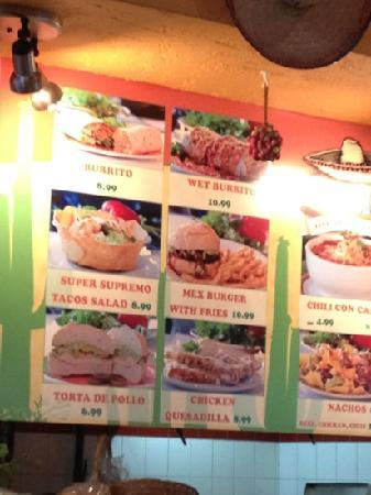 El Sombrero : part of their menu