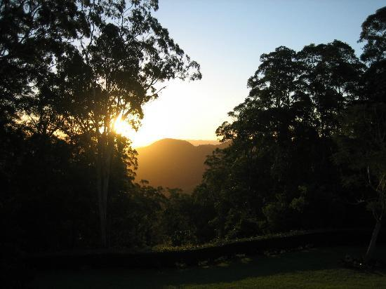 Mapleton Falls Accommodation: Sun set.