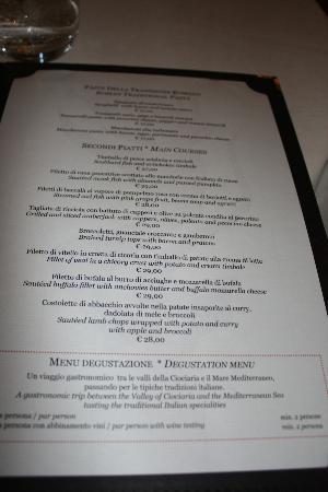 Ristorante Sangallo Ai Coronari : menu