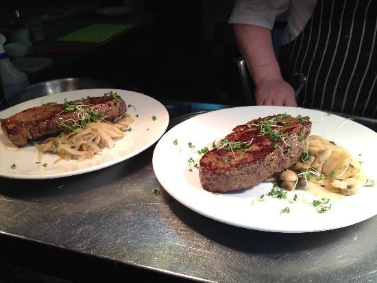 The Washington bar & restaurant : steak night every Thursay (picture is our actual steaks for steak night)