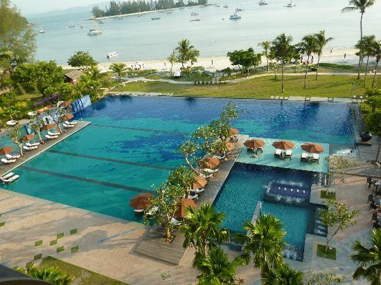 The Danna Langkawi, Malaysia: View of pool and beach from room balcony