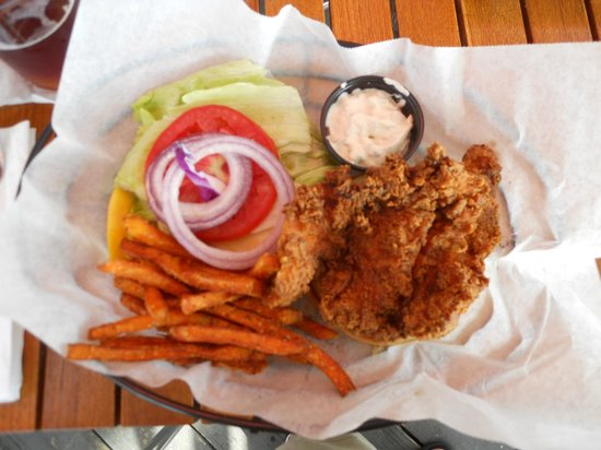 The Salty Rim Grill: Fried Grouper sandwich with sweet potato fries