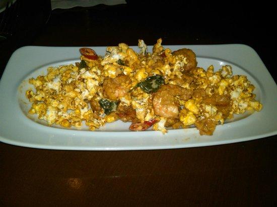 Bistro Ten Zero One: Popcorn shrimp on a bed of popcorn