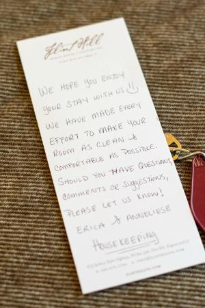 Flint Hill Public House & Country Inn: Note from the housekeeping staff!