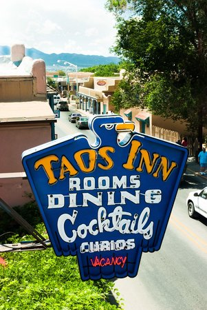 The Historic Taos Inn: The famous Neon sign by day.