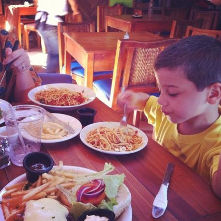 Barrio Cafe: Diego loving his pasta!!!