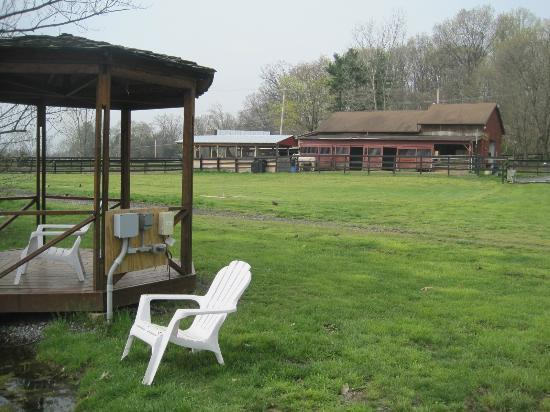 Artillery Ridge Campground : view of stables from gazebo