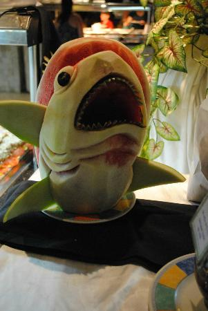Allegro Cozumel: carved out of watermelon! they had many different, creative fruit carvings