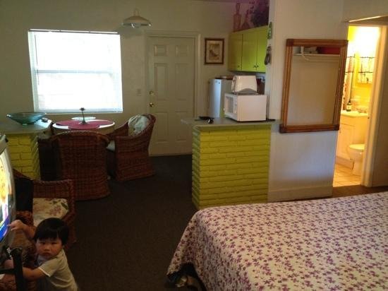 Best Florida Resort : kitchenette and bath of Rm 203. Cute kid does not come with the room.
