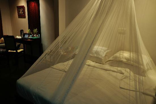 The Emerald Sea Resort: Bungalow 115 at night - complete with superbly fitted mosquito net