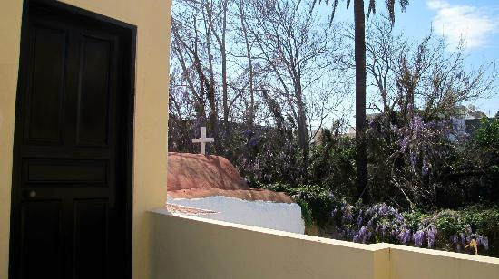 Saint Michel : Private terrace and front door to the Studio Apartment, overlooking historic 14th c. chapel