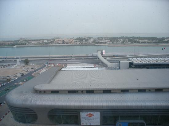 Aloft Abu Dhabi: Room view. It was sunny, but very windy/hazy.