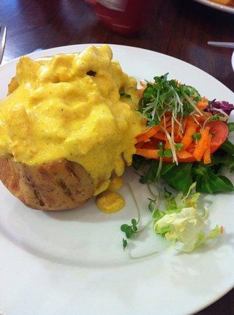 Cafe Luca: coronation chicken on jacket potatoe with side salad