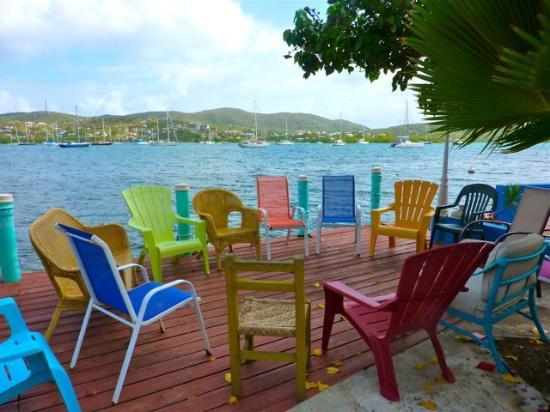 Villa Boheme: Chairs waiting for writers, on the dock at Villa Boheme