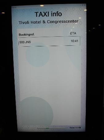 Tivoli Hotel: Anzeige der bestellten Taxis (mit erwarteter Ankunftszeit)