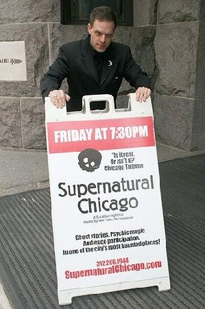 Neil Tobin, Necromancer in front of Excalibur, home of Supernatural Chicago