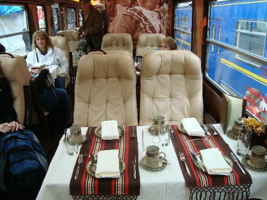 The dining car aboard Inca Rail