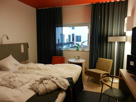 Comfortable room at Kosta Boda Art Hotel (please excuse unmade bed!)